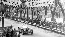 The 'Mille Miglia', the 1,000-mile race starting and finishing in Brescia, 12 and 13 April 1931. Rudolf Caracciola and his co-driver Wilhelm Sebastian in a Mercedes-Benz SSKL racing car (W 06 RS model series) at the finish line in Brescia. It is the first time that a foreigner is the overall winner of this famous Italian race.