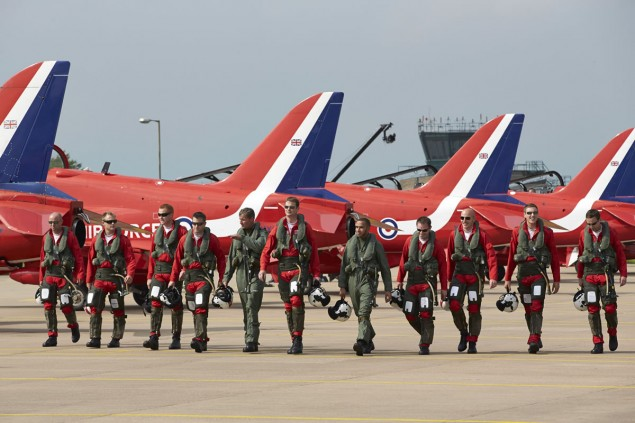 Lewis Hamilton flying Hawk T1 Jet Red Arrows