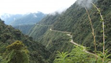 The world's most dangerous road, a title held by the Yungas Road in Bolivia. With no guard rails and cliff drops up to 1,830 feet, the 43 mile road is estimated to have taken the lives of 200 - 300 people per year.