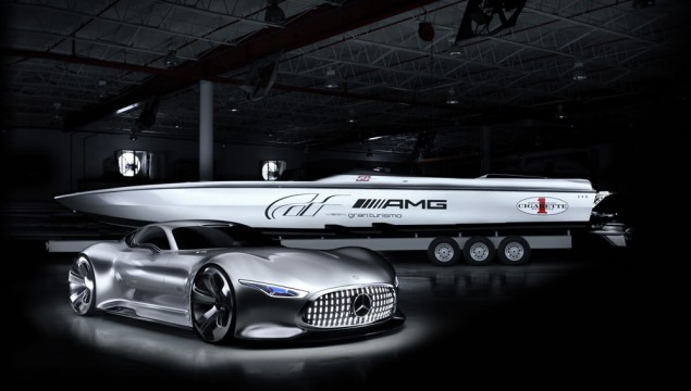 Cigarette Racing and the Mercedes-Benz high-performance brand AMG present the Mercedes-Benz AMG Vision Gran Turismo Concept car and the Cigarette Racing 50' Vision GT Concept.