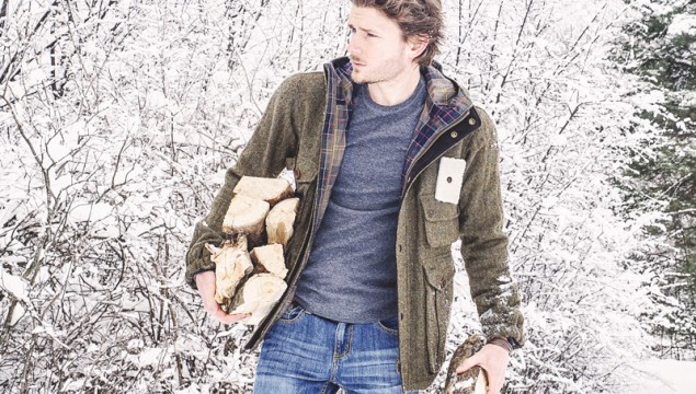 Barbour Wool Fishing Jacket from the Barbour Heritage Collection front view unzipped
