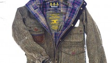 Barbour Wool Fishing Jacket from the Barbour Heritage Collection in snow