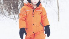 Canada Goose Grizzly Snowsuit Orange front hood down