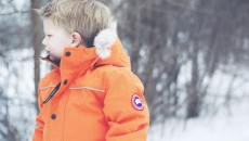 Canada Goose Grizzly Snowsuit Orange side hood down