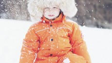 Canada Goose Grizzly Snowsuit Orange front kneeling