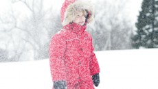 Canada Goose Grizzly Snowsuit Red in snow