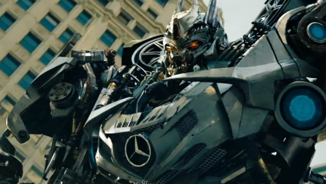 Perhaps the most expensive Mercedes-Benz car to grace the big screen was the SLS AMG in Transformers Dark of the Moon.  Driven by supermodel Rosie Huntington-Whitely, the SLS AMG transformed into Soundwave the Decepticon.