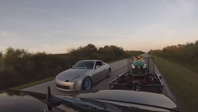 Mercedes E55 AMG Pulling a Trailer with Tractor Smokes Nissan 350Z