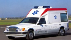 Mercedes-Benz of the 124 series, ambulance of coach builder Miesen, 1989.