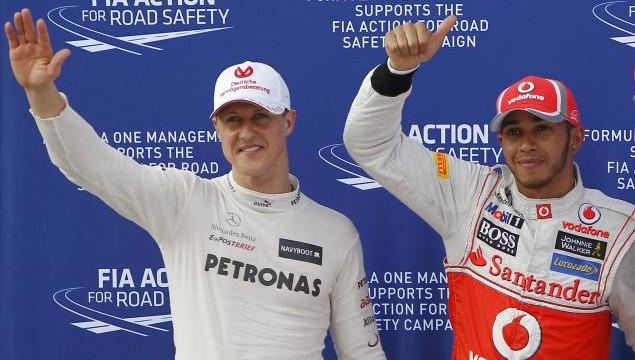 Lewis Hamilton and Michael Schumcaher Mercedes AMG Petronas