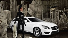 Model Joan Smalls Mercedes-Benz CLS Shooting Brake leather suit