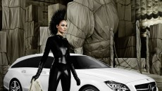 Model Joan Smalls Mercedes-Benz CLS Shooting Brake leather suit CLS63 AMG