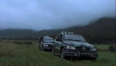 A slightly modified version of the first Mercedes-Benz M-Class was attacked by two of Jurassic Park's T-Rex dinosaurs. While the cars managed to survive the brutal attack, the driver did not.