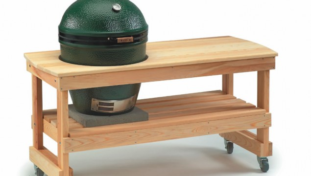 Large Big Green Egg with Cedar Table