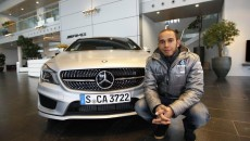 Lewis Hamilton Makes First Appearance as a Silver Arrow Driver AMG Headquarters