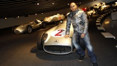 Lewis Hamilton Makes First Appearance as a Silver Arrow Driver stuttgart museum