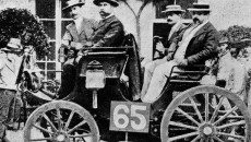 The Panhard-Levassor car with Daimler engine in the first automobile race between Paris and Rouen in 1894.