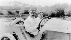 Christian Lautenschlager and co-driver Hans Rieger in the 115 hp Mercedes Grand Prix racing car, winners of the French Grand Prix near Lyon on July 4, 1914.