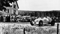 Belgian Grand Prix in Spa-Franchorchamps. July 7, 1935. The winner Rudolf Caracciola (start number 2) in a Mercedes-Benz 750-kg formula racing car W 25.