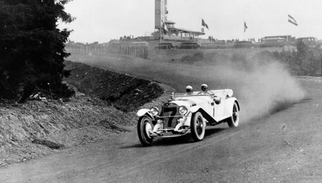 German Grand Prix for sports cars at the Nürburgring, July 17, 1927. Christian Werner (starting number 7) with a Mercedes-Benz S. Werner drove the fastest lap and finished second in the over 3 litre sports car category.