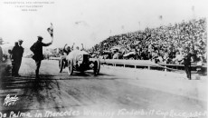 Vanderbilt race on February 26, 1914, on the Santa Monica track near Los Angeles, California. The photo shows Ralph de Palma crossing the finishing line. He won the race in a 37/95 hp Mercedes racing car.