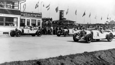 Triple victory for Mercedes-Benz at the German Grand Prix for sports cars at the Nürburgring, July 15, 1928. In the first and second line the Mercedes-Benz team with SS racing touring cars. From the left: starting number 1: Georg Kimpel / Adolf Rosenberger, starting number 5: Otto Merz and co-driver Eugen Salzer, starting number 4: Christian Werner / Willy Walb.