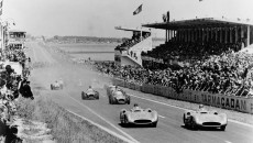 Start of the French Grand Prix in Reims, July 4, 1954. Karl Kling (start number 20) and Juan Manuel Fangio (start number 18), both driving Mercedes-Benz W 196 R Formula One racing cars with streamlined bodywork, took the lead right from the start.