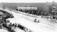 French Grand Prix near Dieppe, July 7, 1908: Victor Hémery (start number 6) finishes in second place in a Benz 120 hp Grand Prix racing car.
