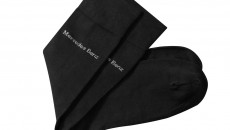 Set of 2 pairs of men's black socks each with a Mercedes-Benz logo embroidered below the cuff. Supplied in a decorative gift box. One size (40-45). Item number B66951623. Price: 19.90 €