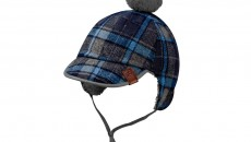 Babies' knitted hat with check pattern in grey and turquoise made from 90% acrylic and 10% wool. Grey pompom. Ear flaps with ties. Leather badge, embossed with star logo. Item number B66952249. Price: 19.90 €