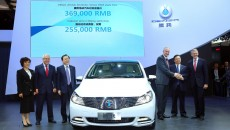 Daimler-BYD Joint Venture's New All-Electric Vehicle DENZA unveiled at Auto China; from right: Prof. Thomas Weber, Member of the Board of Management of Daimler AG responsible for Research and Development, Wang Chuanfu, Chairman of BYD Co., Ltd., Hubertus Troska, Member of the Board of Management of Daimler AG with responsibility for China, Lian Yubo, CEO of Shenzhen BYD Daimler New Technology Co., Ltd., Arno Röhringer, COO of Shenzhen BYD Daimler New Technology Co., Ltd., Stella Li, Senior