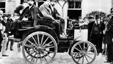 The first car race from Paris to Rouen, 22 July 1894. Paul Panhard at the wheel of the vehicle from Panhard & Levassor with Daimler engine. The car with the starting number 13 finished in 4th position, Panhard & Levassor received the joint first prize.