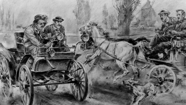 The first car race from Paris to Rouen, 22 July 1894: Emile Roger, the first ever foreign sales agent for Benz vehicles, finished in 14th place driving a Benz Vis-à-Vis 3 hp and was awarded fifth prize. Drawing by Hans Liska dating from 1960.
