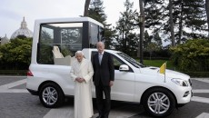 New Popemobile from Mercedes-Benz for Pope Benedict XVI. Dr. Dieter Zetsche, Chairman of the Board of Management of Daimler AG and Head of Mercedes-Benz Cars, personally handed over the Mercedes-Benz M-Class, specifically produced for the Pope with special-purpose body, today at the Vatican.