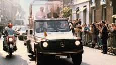 Pope John Paul II on tour in his Mercedes-Benz 230 G popemobile with registration SCV 7.