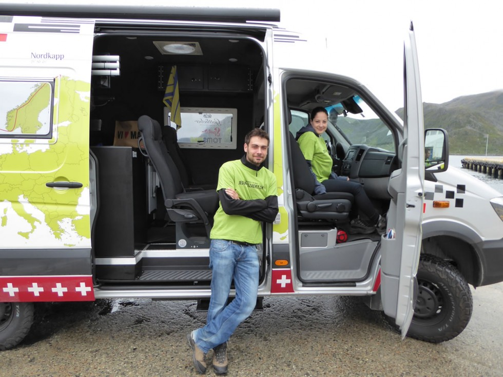 Bikers ride their Specialized S-Works nearly 5,000 miles across Europe for disadvantaged children. Part of the tour a, Mercedes-Benz Sprinter as support vehicle