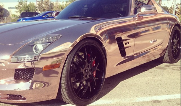 Tyga Rose Gold Mercedes SLS AMG
